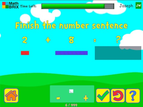 Add and subtract fluently within 10 using brix Math Game