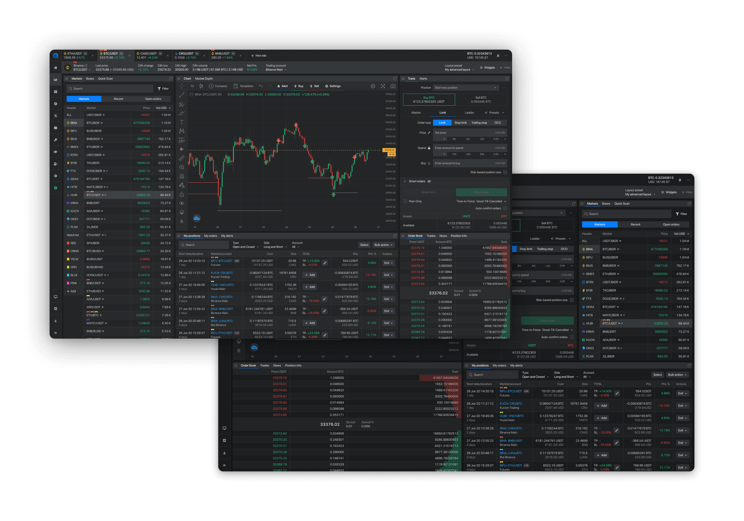 trading page layout