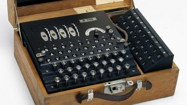 1.5: In the Enigma mechanical cipher the secret key would be the settings of the rotors and internal wires. As the operator types up their message, the encrypted version appeared in the display area above, and the internal state of the cipher was updated (and so typing the same letter twice would generally result in two different letters output). Decrypting follows the same process: if the sender and receiver are using the same key then typing the ciphertext would result in the plaintext appearing in the display.
