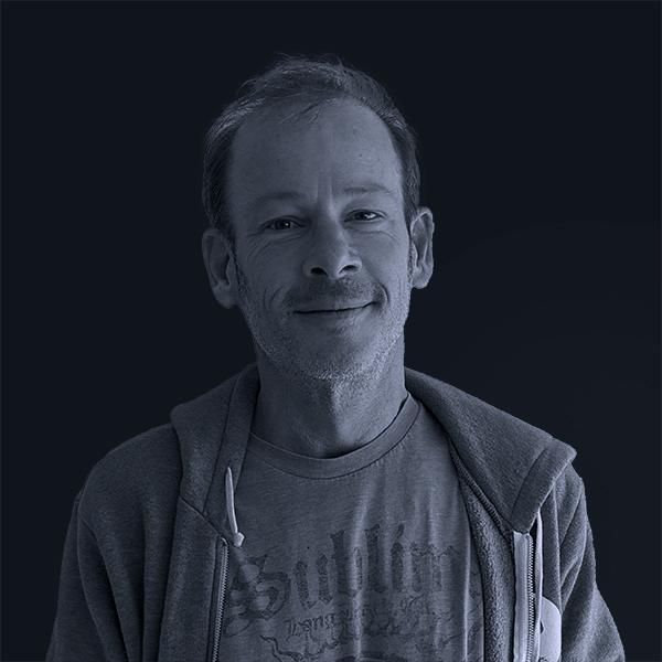 Black and white photo of Mojo Steve Widmar