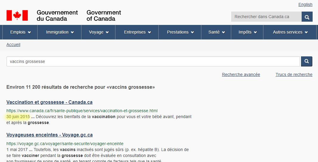 La page de résultats de recherche sur Canada.ca pour «Vaccins grossesse» montrant un résultat (Vaccinations et grossesse) avec le 20 juin 2015 surligné.