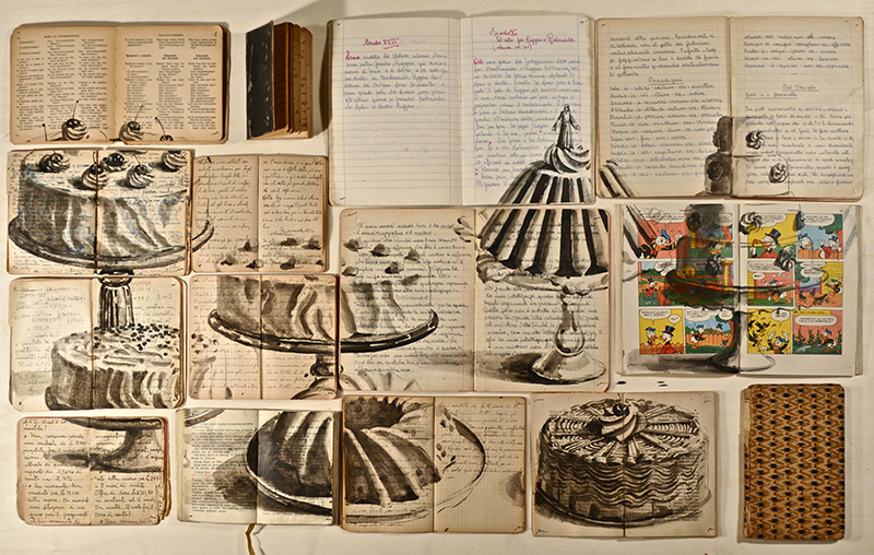 painting of cakes on canvas made of open books by Ekaterina Panikanova