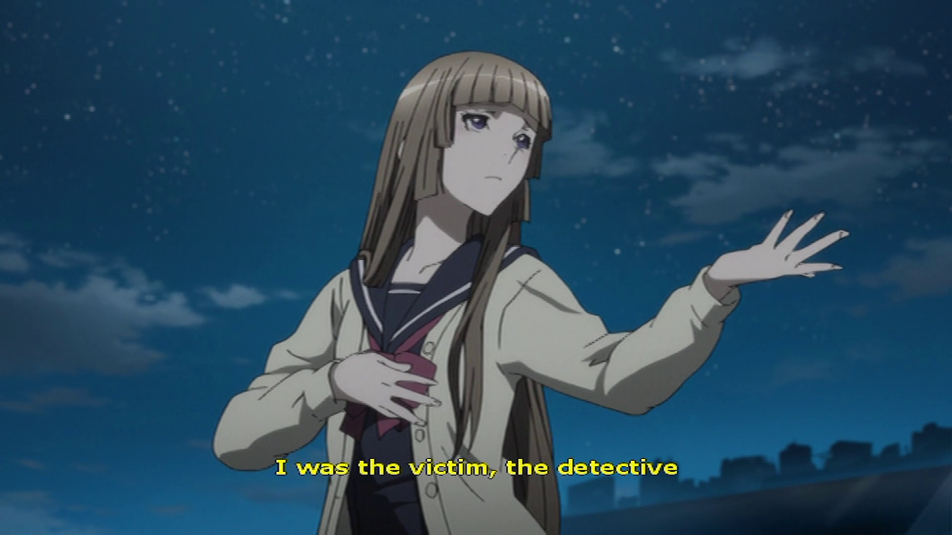 "An anime girl says ""I was the victim, the detective"""