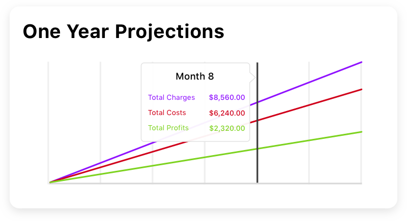 screen showing estimate projections