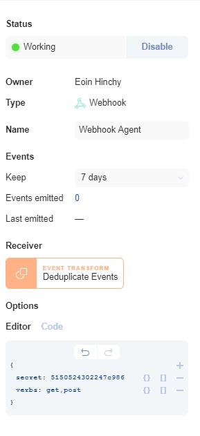 Agent configuration options