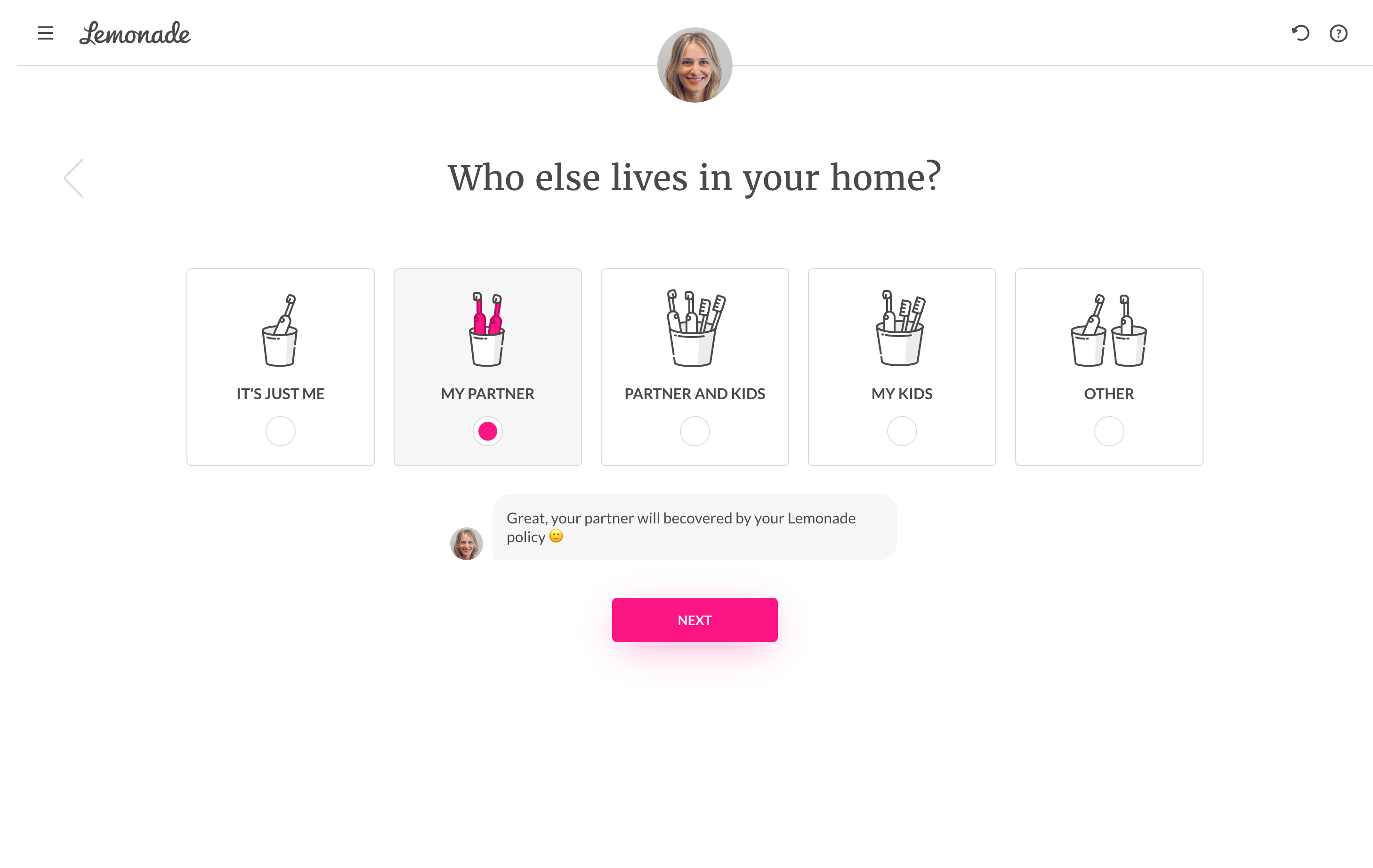 Insurance company Lemonade uses toothbrushes to represent users and their families during sign-up.