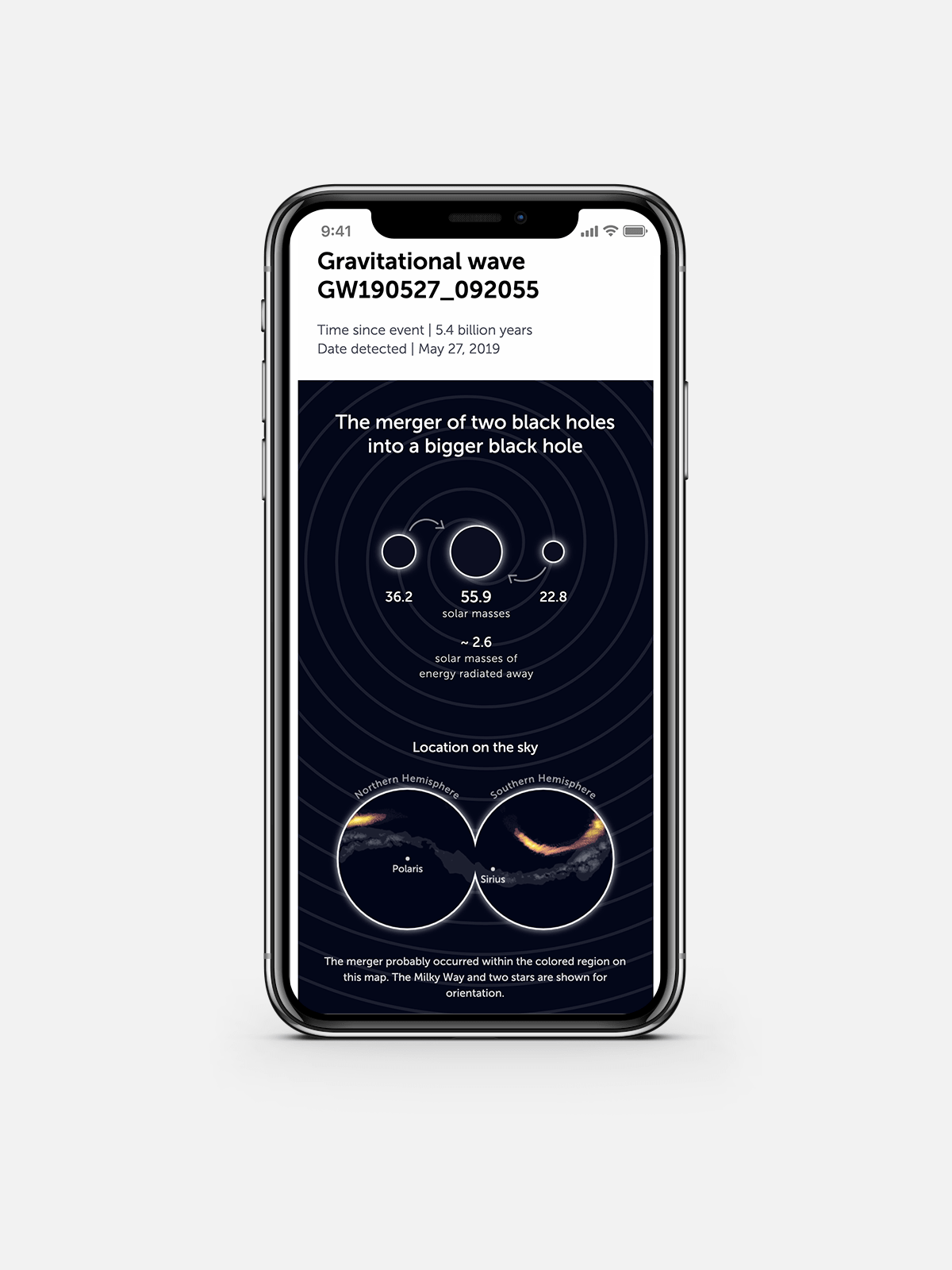 The mobile screen version of the gravitational waves visual
