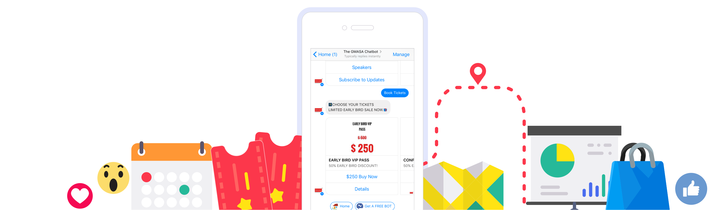 Image with a snapshot of sample chat with event bot and graphics of all the cues like tickets, map, keynote update, merchandise selling and social hints