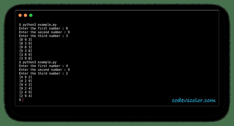 python example print combination three nos