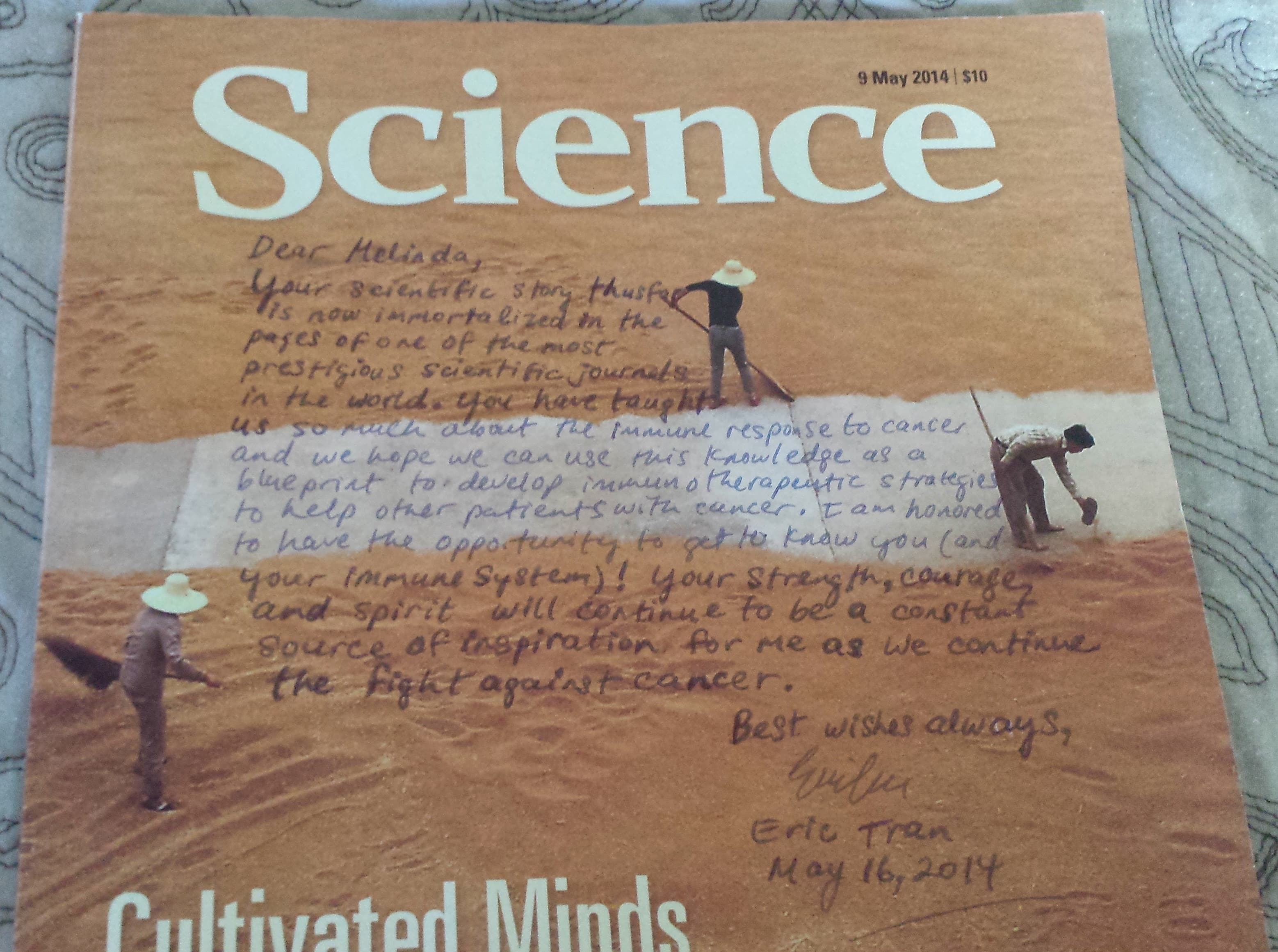 Message written by Dr. Tran on the cover of a Science magazine