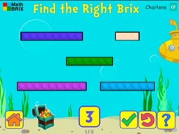 Match numbers up to 10 to different length brix Math Game