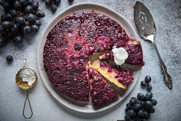 Roasted Grape Snack Cake