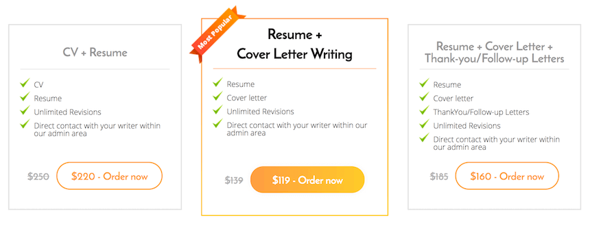 CareersBooster.com resume writing packages