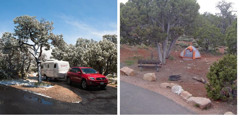 Desert view campground views of a red car and trailer