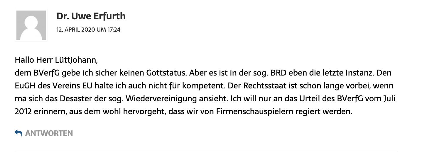 Uwe Erfurth kommentiert