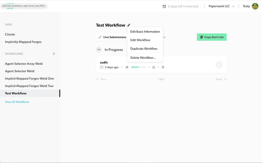 Workflow Dashboard Edit Menu