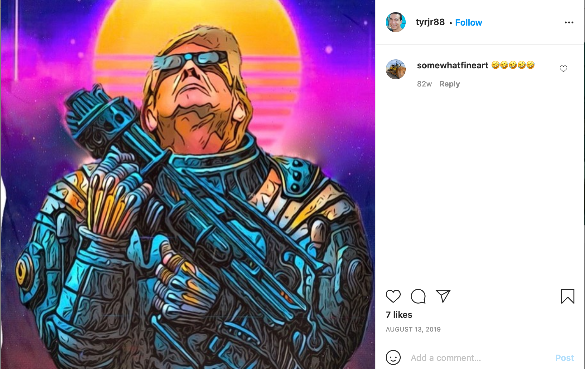 Screenshot from Roman's Instagram depicting fanart of Trump dressed up as a kitschy 80s space marine with a lazer gun and sunglasses.