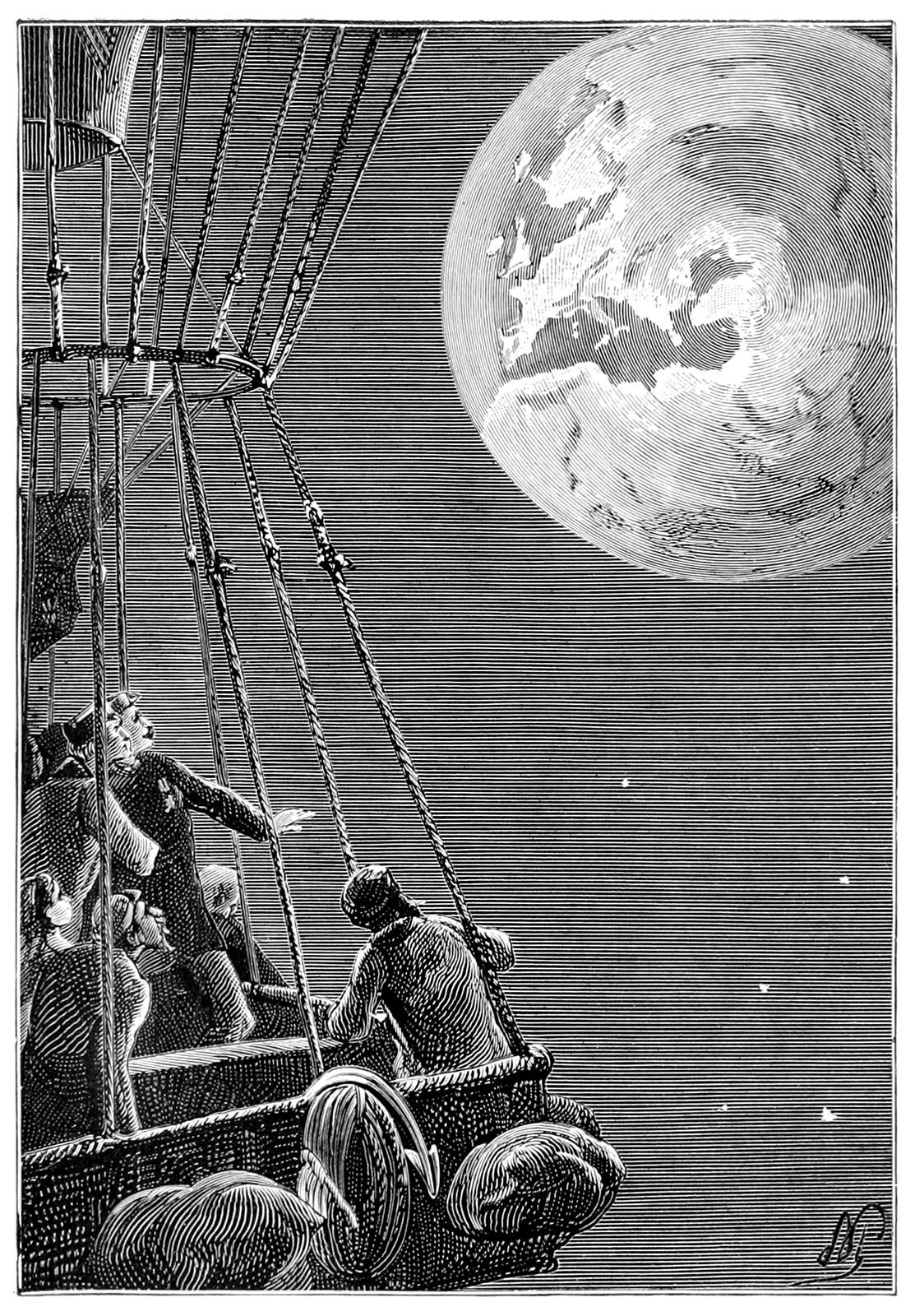 A group of people on a hot air balloon looking back at Earth
