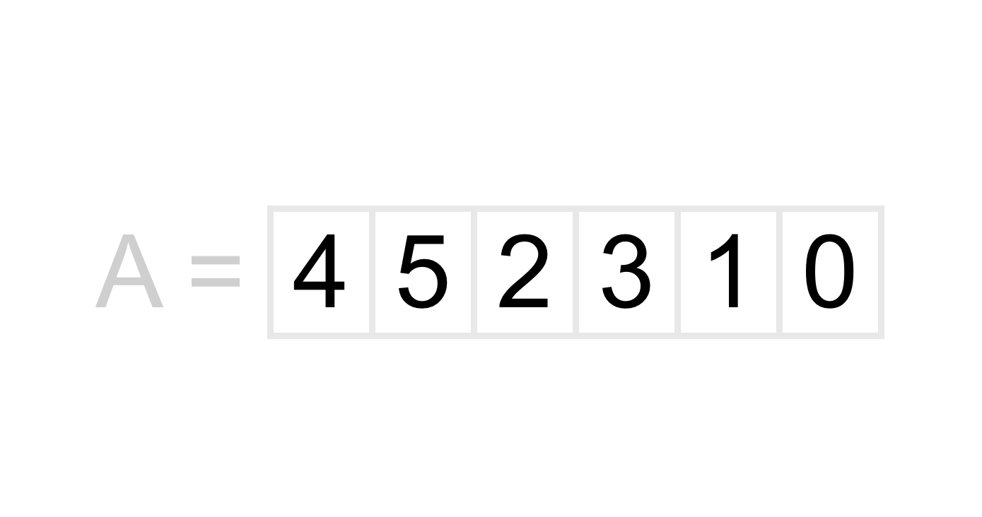 A list containing the numbers 4, 5, 2, 3, 1, 0