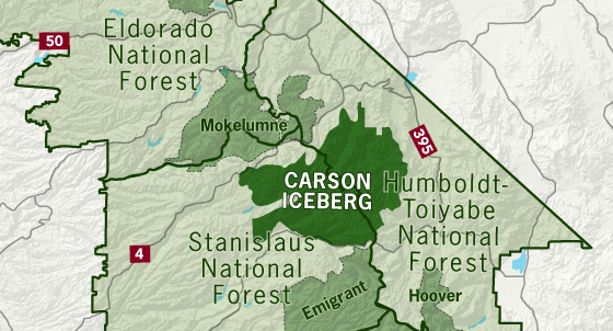area map of Carson-Iceberg Wilderness