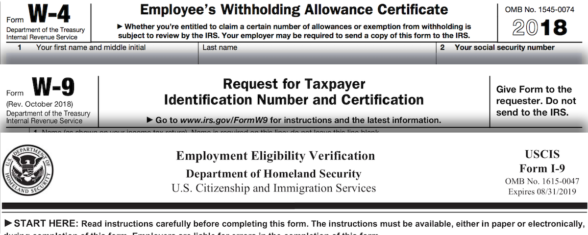 w-4 w-9 and I-9 employment forms