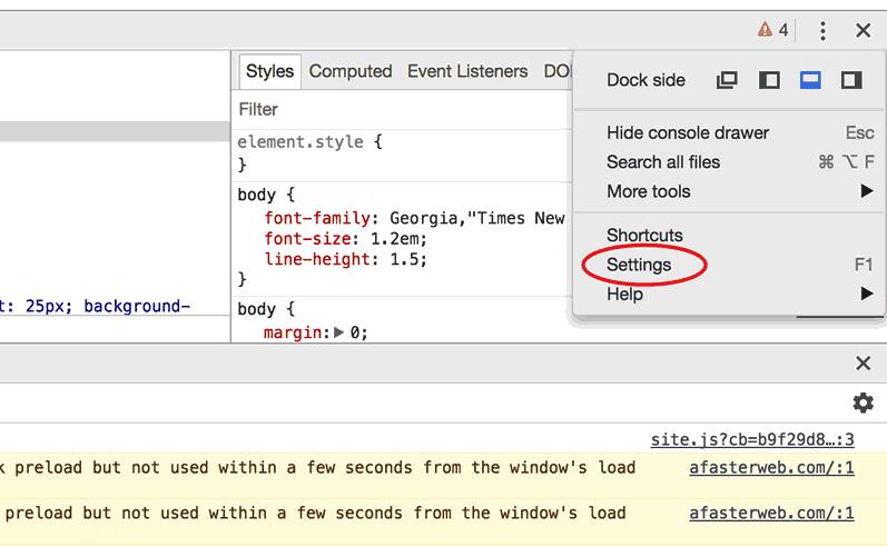 Dev Tools Settings