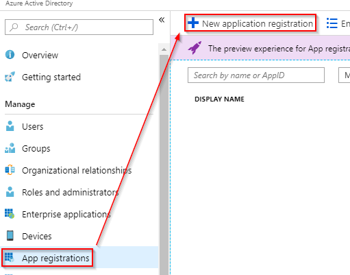 Image depiction of how to add an app registration in azure ad