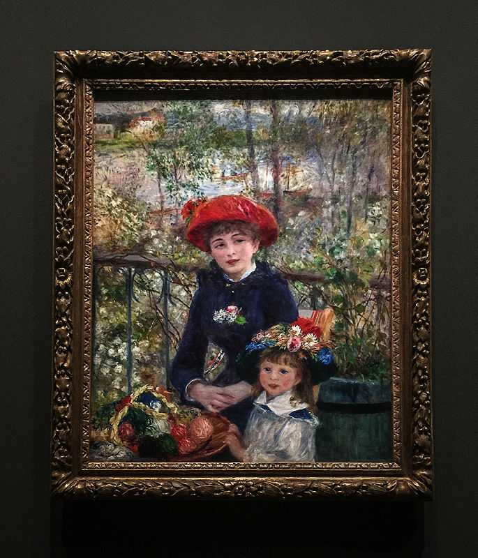 'Two sisters', by Pierre August Renoir in 1881, at an Exhibition at the Luxembourg Museum