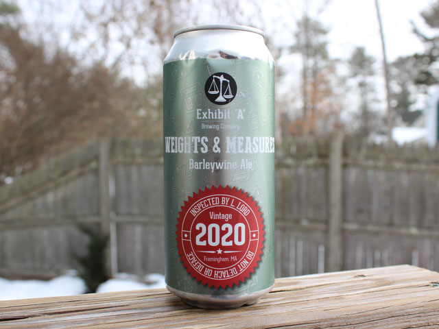 Weights & Measures, a English Style Barleywine brewed by Exhibit A Brewing