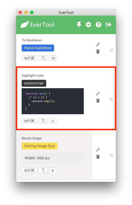 click highlight code action