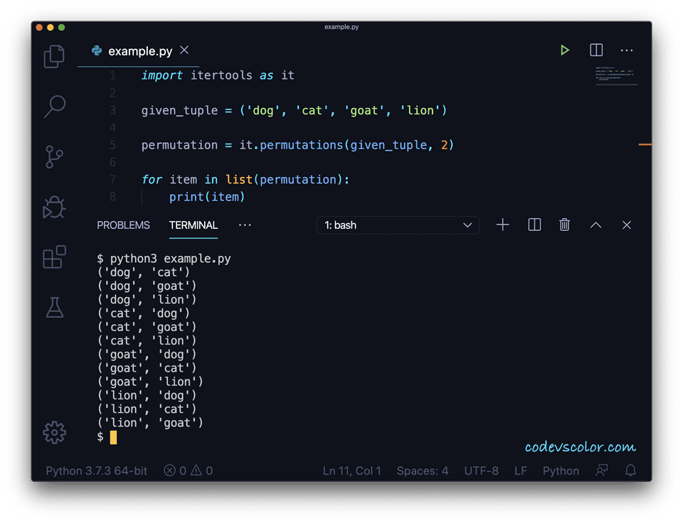 Python permutation tuple