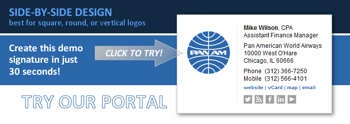 email signatures try the portal side-by-side design