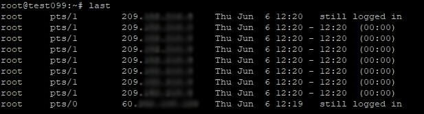 Output of the 'last' command. What is logging on to our server?