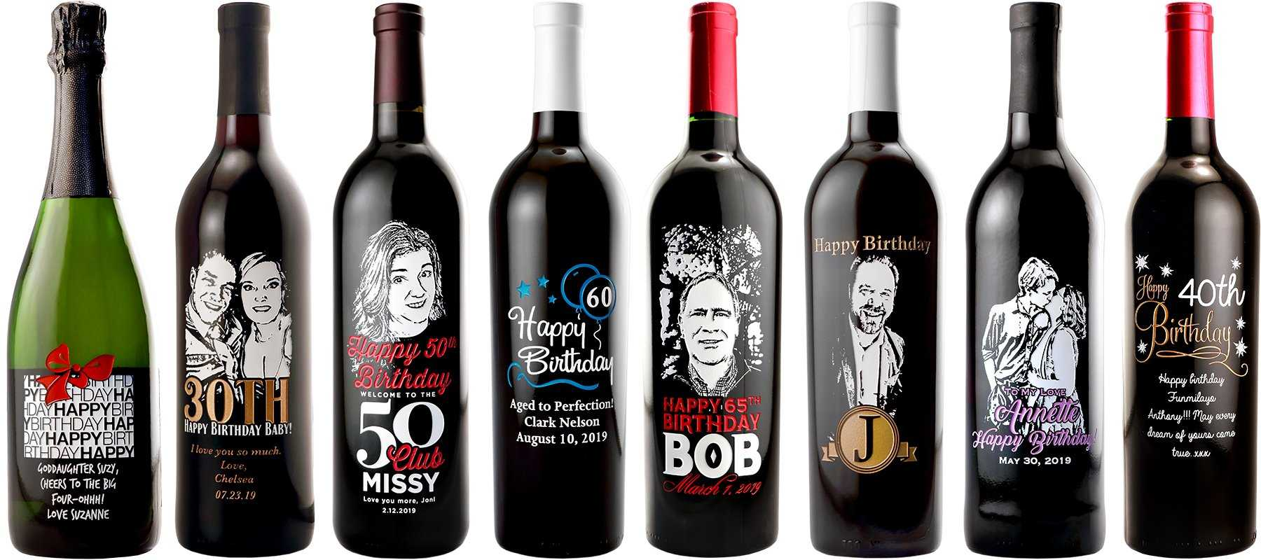 Personalized birthday wine bottles by Etching Expressions