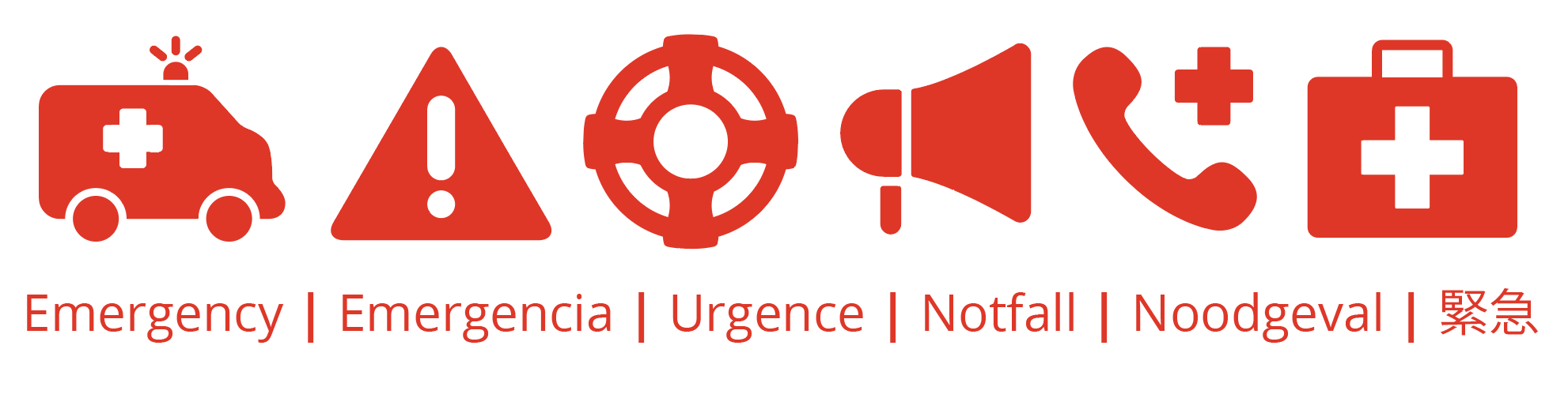Assortment of emergency related icons