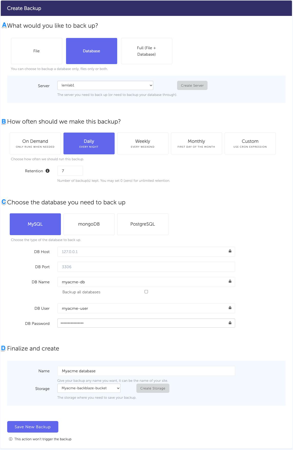 Configuration form, for a MySQL database backup
