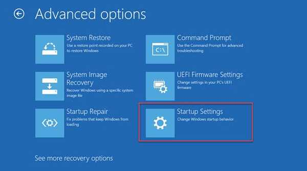 Startup settings option windows