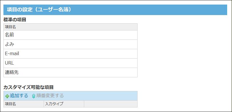 ユーザー名簿の項目の設定画面の画像