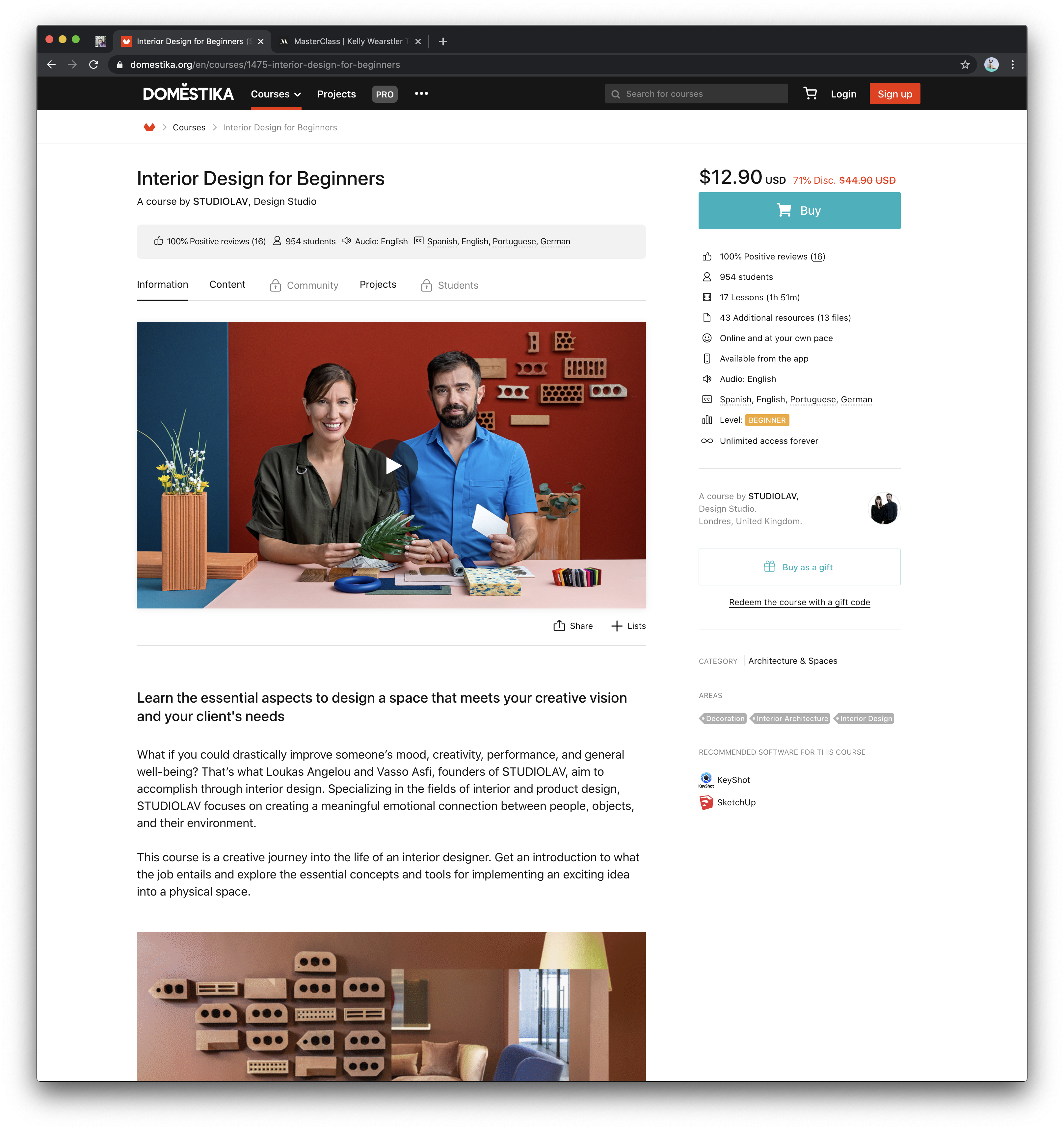 Screenshot of the Domestika Interior Design Course page