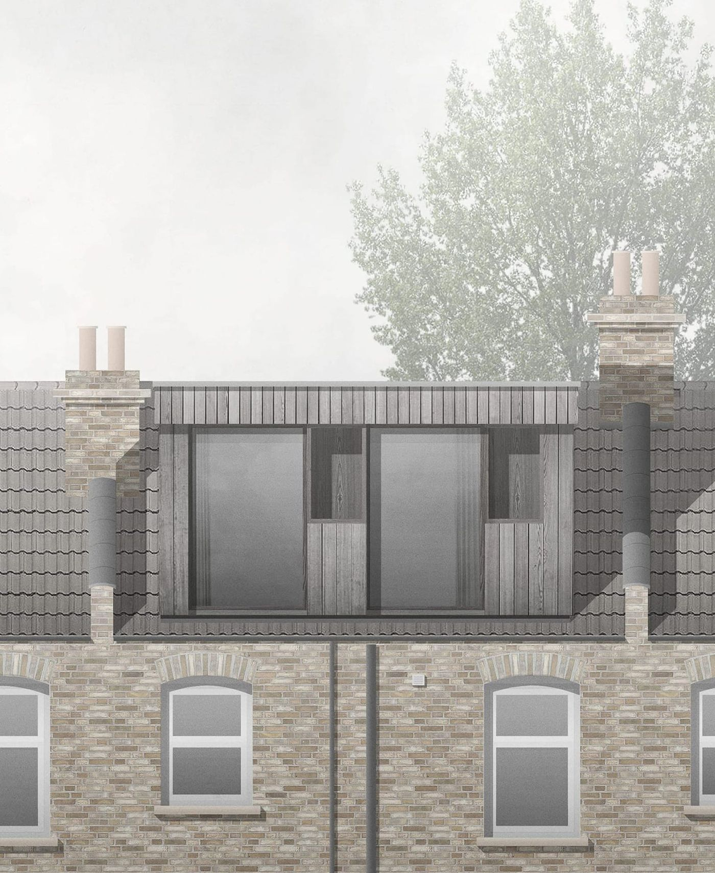 Vertically clad timber clad rear dormer extension and loft conversion at Northbrook Road, London designed by From Works.
