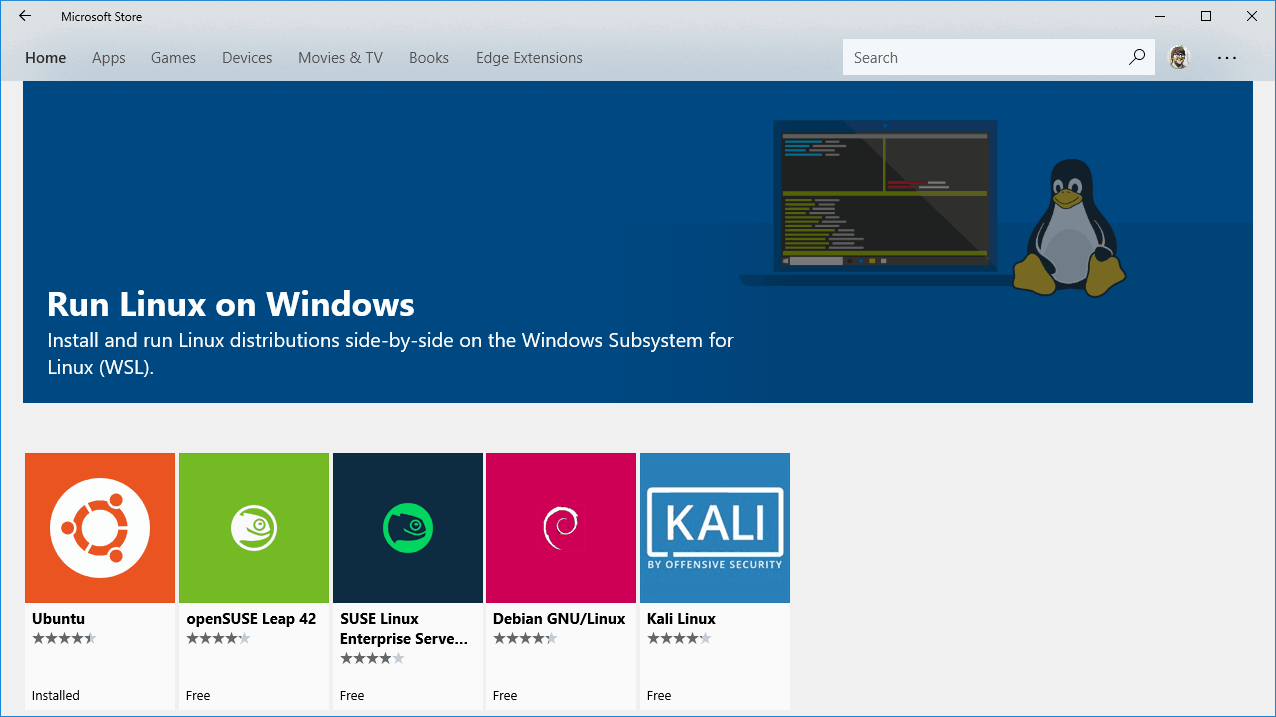 Linux distributions inside Window Store
