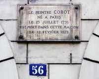 Plaque on the home of Camille Corot where he died 22 February 1875 at: 56, rue du Faubourg-Poissionnière, Paris, 10th arr.