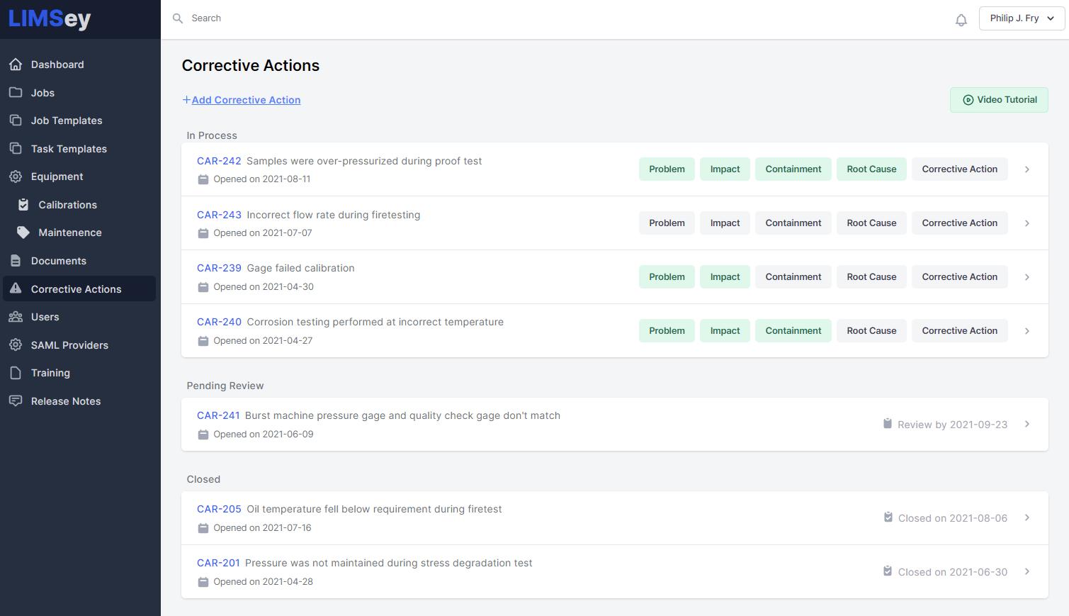 Corrective actions screenshot