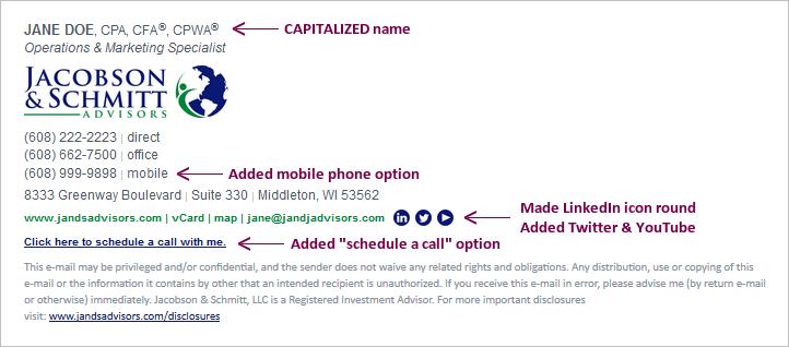 Jacobson & Schmitt Email Signature Design Draft 2