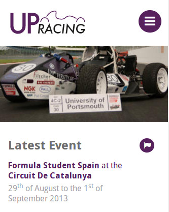 The UPRacing website at a mobile screen size