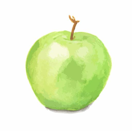 A painted green apple on a white background.