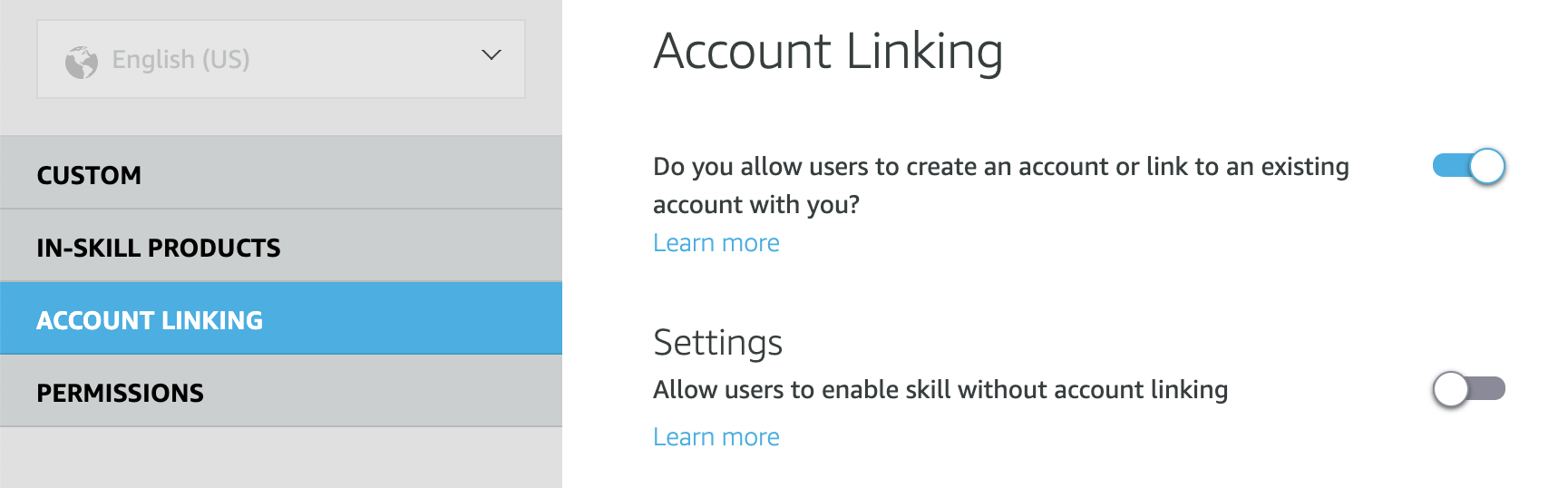 Account linking toggle