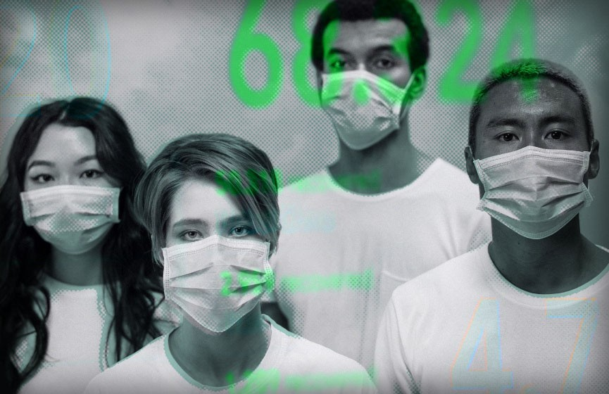 Photo illustration of young adults wearing medical masks to protect against COVID-19.