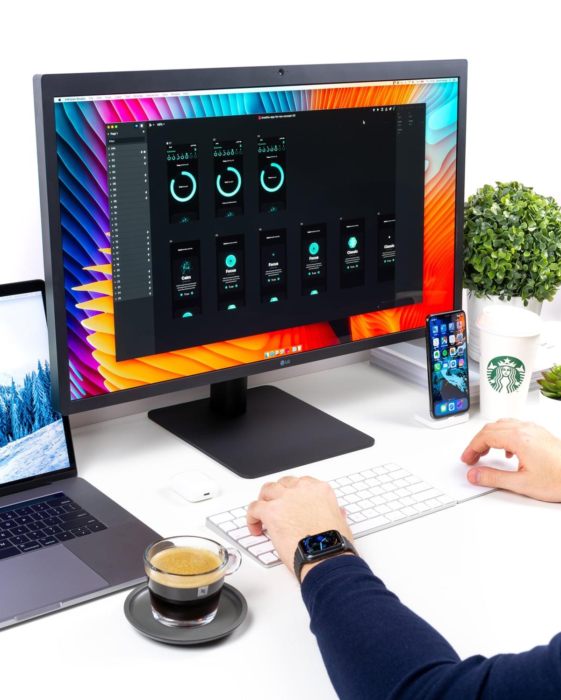A UI designer using a UI design tool