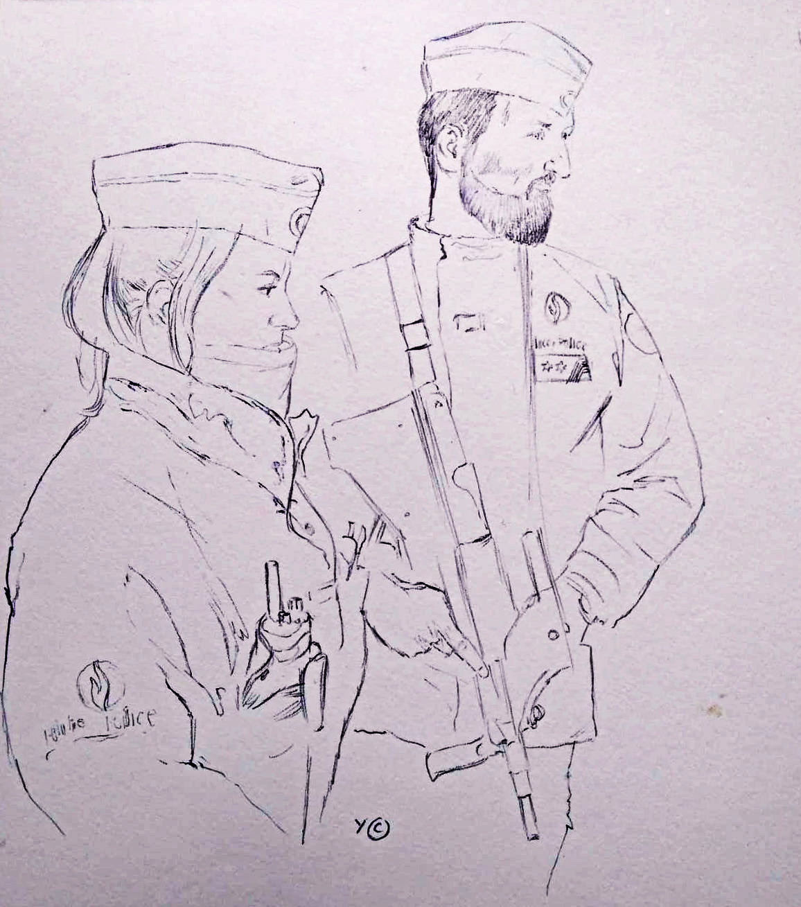 Police team watching over the Law Courts of Brussels, ballpoint sketch.